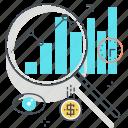 bars chart, economics, finance, growth, magnifier, statistics, vision icon