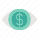 banking, business and finance, eye, money, vision icon