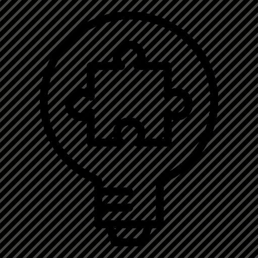 bulb, idea, puzzle, solution, strategy icon