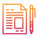 financial, office, paper, pen, report, statement icon