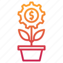 business, growth, investments, making, management, money, plant icon