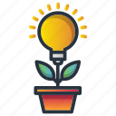 ecology, growth, investment, light, plant, smart, solution icon