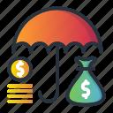 insurance, life, money, protection, saving, umbrella icon
