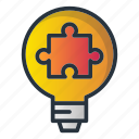bulb, idea, puzzle, solution, strategy icon