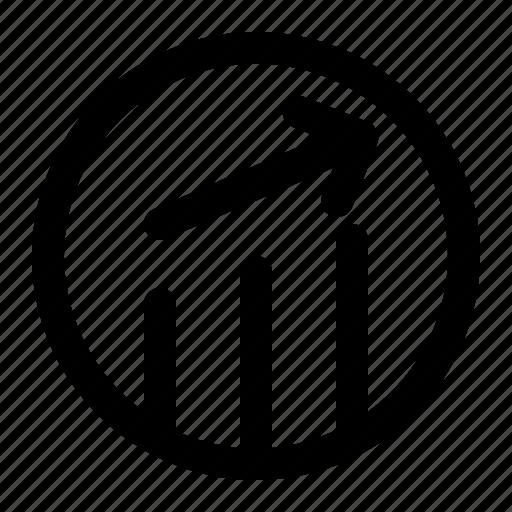 business, chart, ellipse, finance, line icon