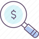 funding, funds, magnifier, magnifying glass, money, search