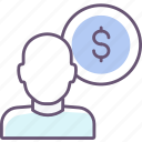 benefit, dollar, person, salary icon