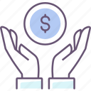 charity, coin, dollar, donation, finance, hand, money icon