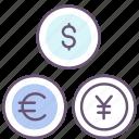 currencies, currency, dollar, euro, exchange