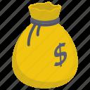 business money bag, currency sack, dollar sack, money bag, money sack, wealth icon
