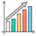 analytics, business growth, business raise, business success, growth chart icon