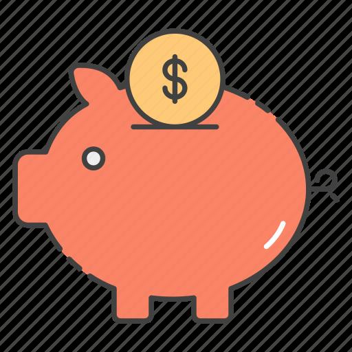cash box, money savings, penny bank, piggy bank, piggy moneybox icon