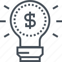 business plan, dolar, idea, lamp, making, money, start up icon