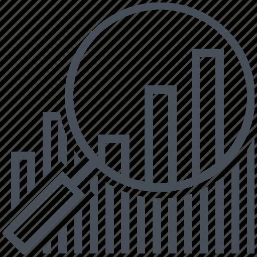 bars chart, calculator, graph, magnifier, pen, statistics, stats icon
