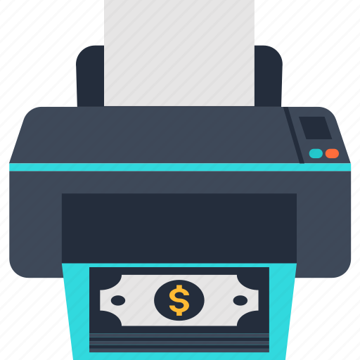 business, cash, dollar, income, money, printer icon