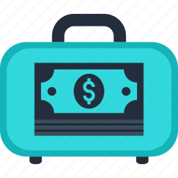 bag, business, case, cash, dollar, money icon