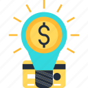 bulb, card, coin, credit, dollar, idea icon