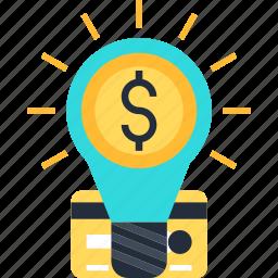 bulb, card, coin, credit, dollar, idea icon