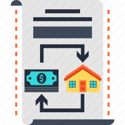 chart, contract, document, house, sale icon