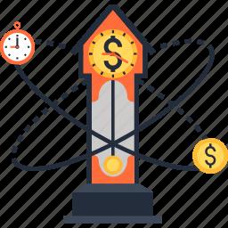 clock, coin, dollar, money, time icon