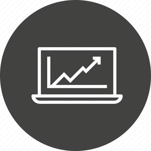analysis, business, chart, graph, growth, laptop, statics icon