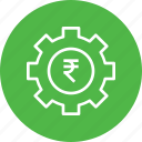 gear, indian, management, money, optimization, rupee icon