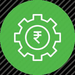 gear, indian, management, money, optimization, rupee icon