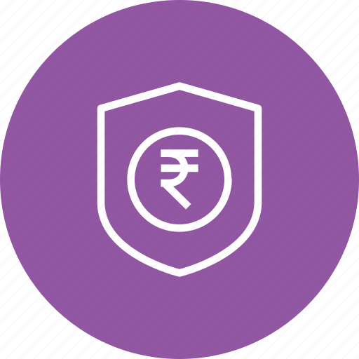 indian, insurance, money, rupee, secure, security, shield icon