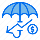 umbrella, investment, money, down, protection