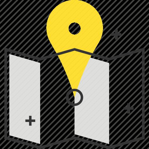 city, coordinates, direction, location, map, marker, navigation icon