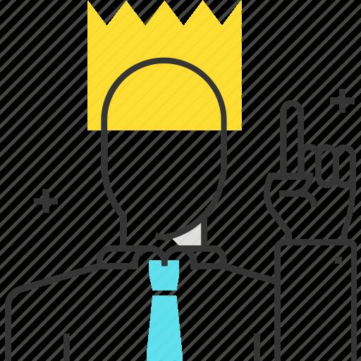 businessman, king, leader, leadership, manager, team leader, teamwork icon