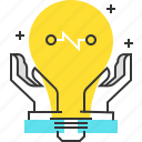 brainstorm, creative, gear, idea, lamp, management, production icon