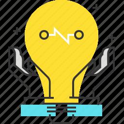 brainstorm, creative, gear, idea, lamp, management, production icon
