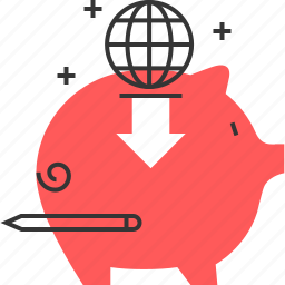 bank, commerce, financial, global, investment, pig, save money icon