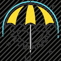 assurance, cog, gear, rain, risk management, umbrella, wheel icon