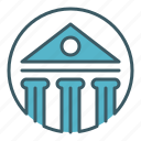 bank, building, circle, house, money icon