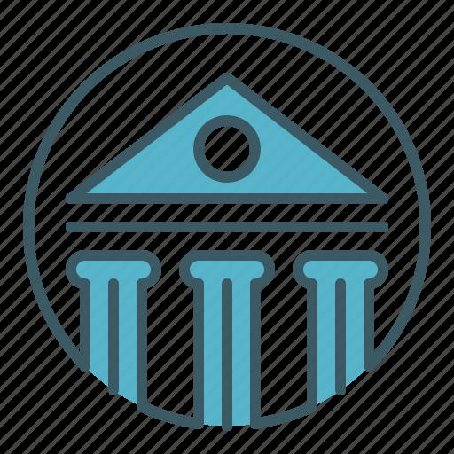 bank, building, circle, house, money icon