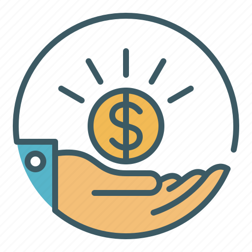 coin, earnings, finance, hand, income, money, offer icon