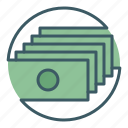 bank, banknotes, circle, finance, money icon