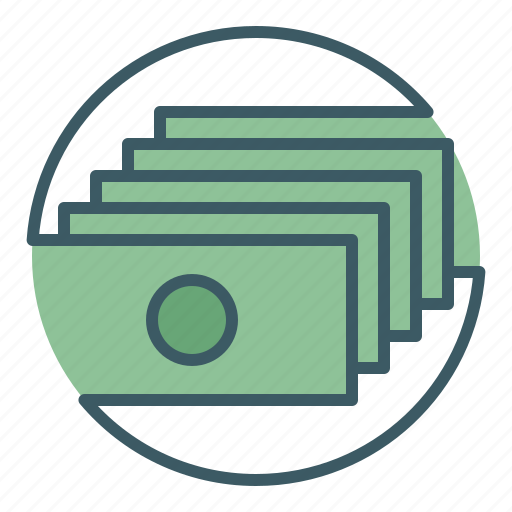 bank, banknotes, circle, finance, money icon