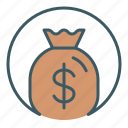 bag, cash, circle, finance, money icon