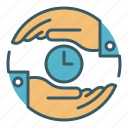 circle, give, hand, share, take, time, trade icon