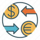 circle, exchange, finance, forex, money, trade, transaction icon