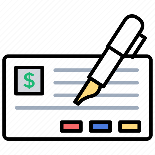 doodle icon checkbook, financial statement icon