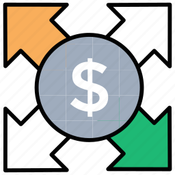 financial stability, flow of money, multiples expenses, paying bills, paying expenses icon