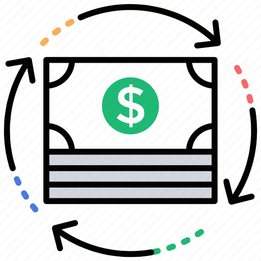 continuous money, economic growth, financial stability, money flow, paycheck icon