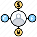 accountant, finance, money exchange, multiple accounts, multiple currencies icon