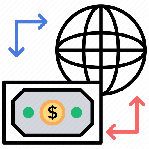 bank transfer, currency transaction, international transaction, money transfer, wire transfer icon