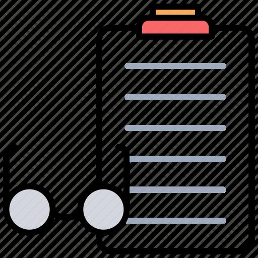 budget, checking records, checklist, glasses, reports icon