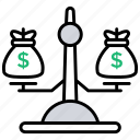 balancing, money balance, weighing money, weight, weight balance icon